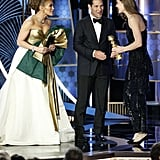Jennifer Lopez, Paul Rudd, and Hildur Guonadóttir at the 2020 Golden Globes