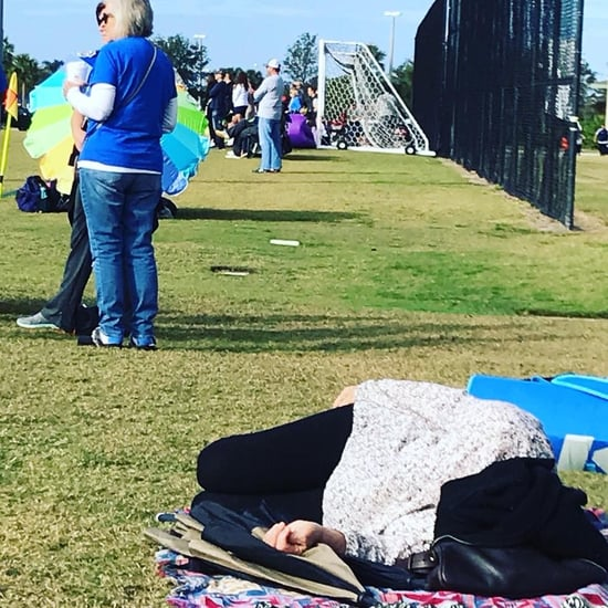 Mom Napping During Kid's Soccer Game