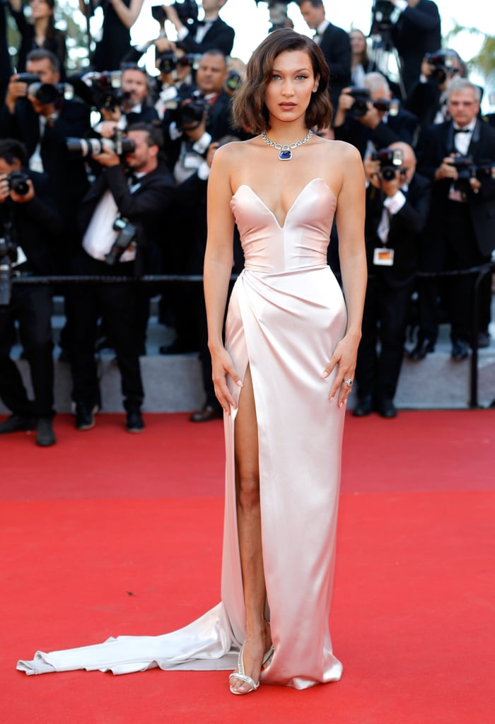 Bella Hadid Walked the Cannes Red Carpet in a Strapless Dior Dress