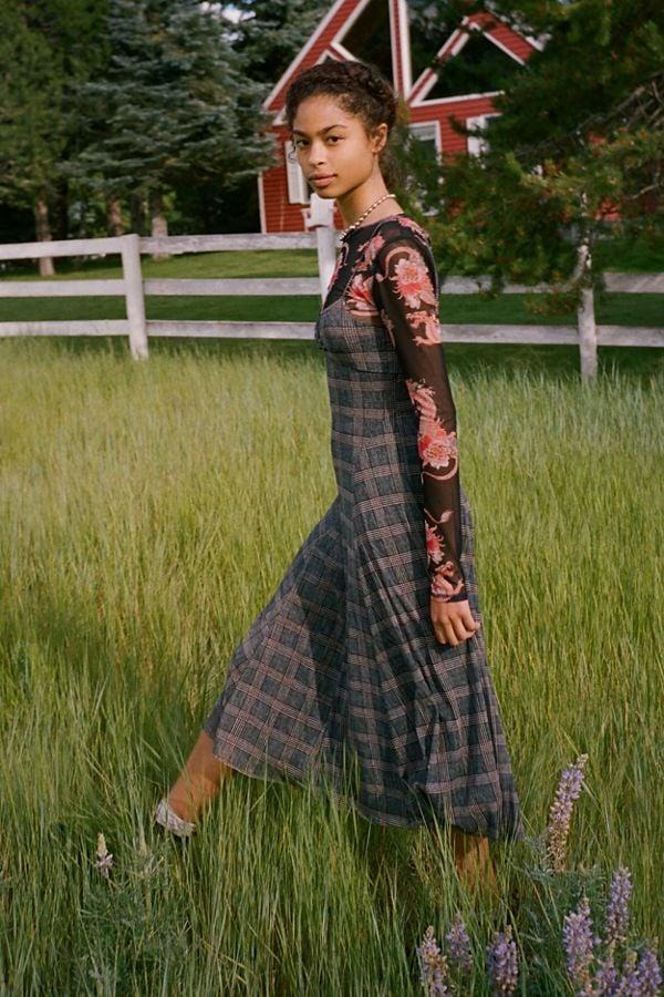 UO Lane Plaid Mesh Midi Dress
