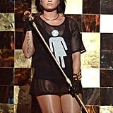 Demi Lovato Wearing Gender Neutral Bathroom Shirt on Stage