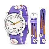 Bling Jewelry Purple Analog Baseball Sports Children's Watch