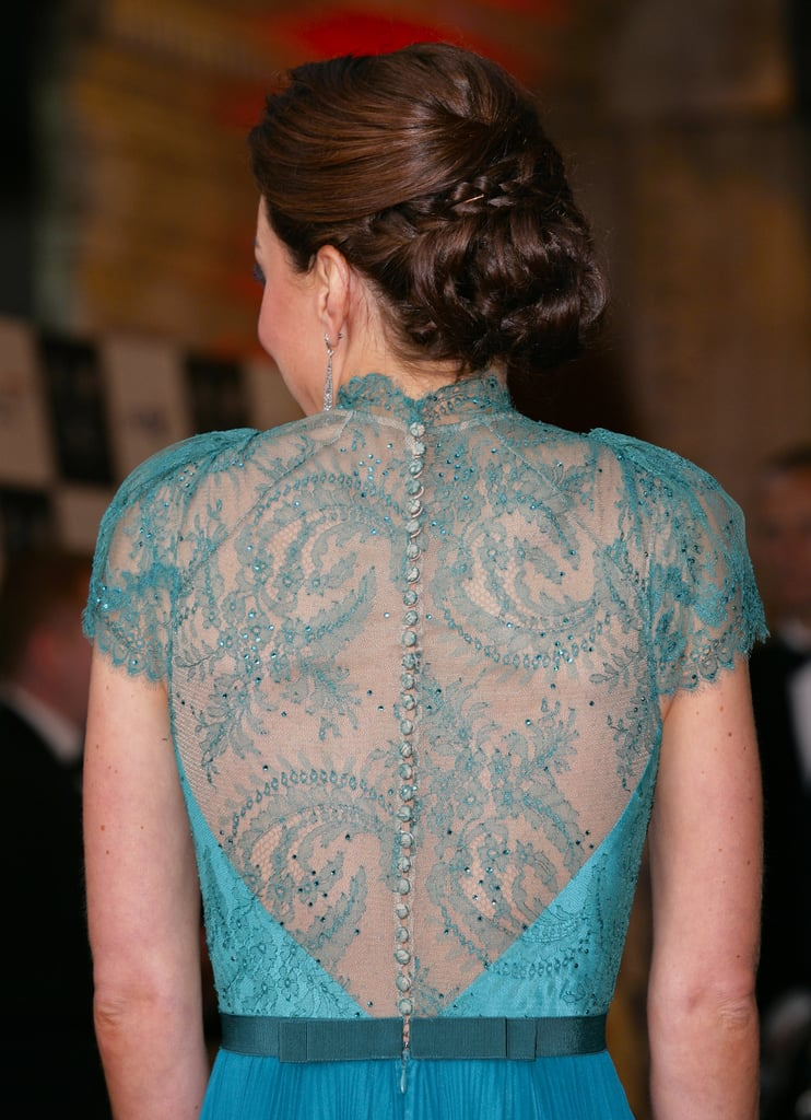 The back of the Duchess' gown had tiny buttons over a lace panel.