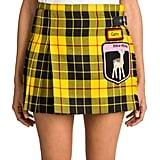 Miu Miu Pleated Tartan Wool Patched Mini Skirt
