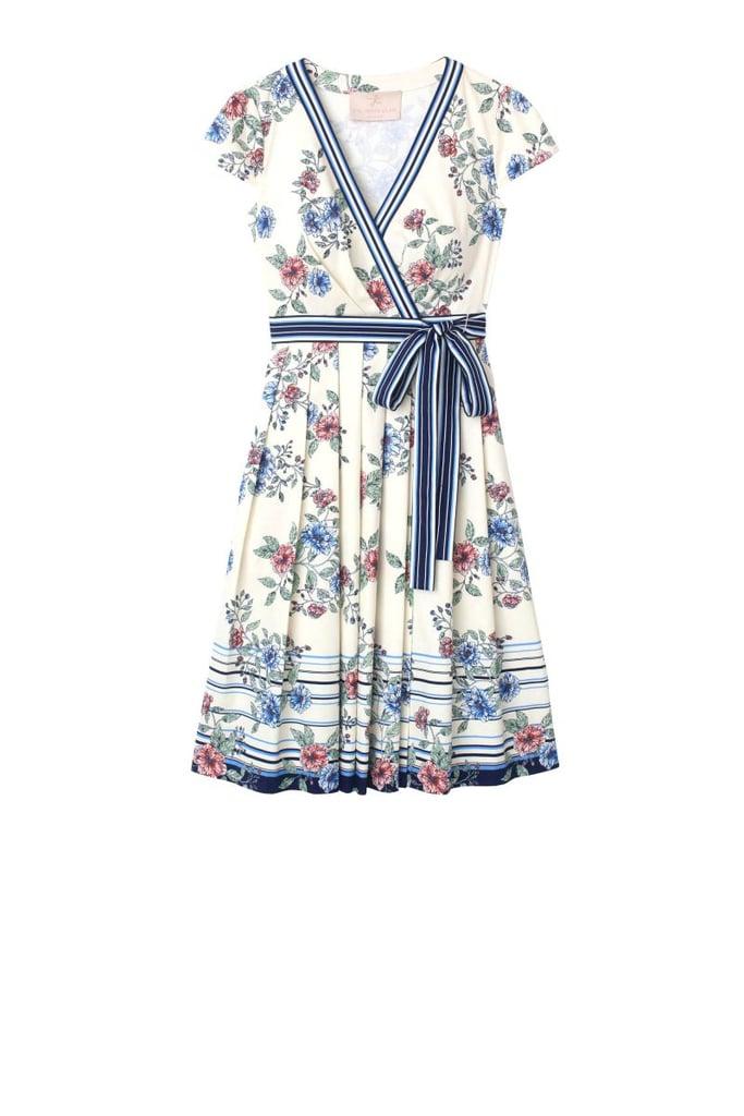 Gal Meets Glam Collection Teresa Floral & Stripe Cotton Wrap Dress