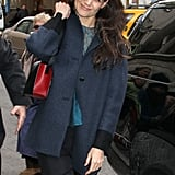 Katie Holmes stepped out near Times Square earlier today.