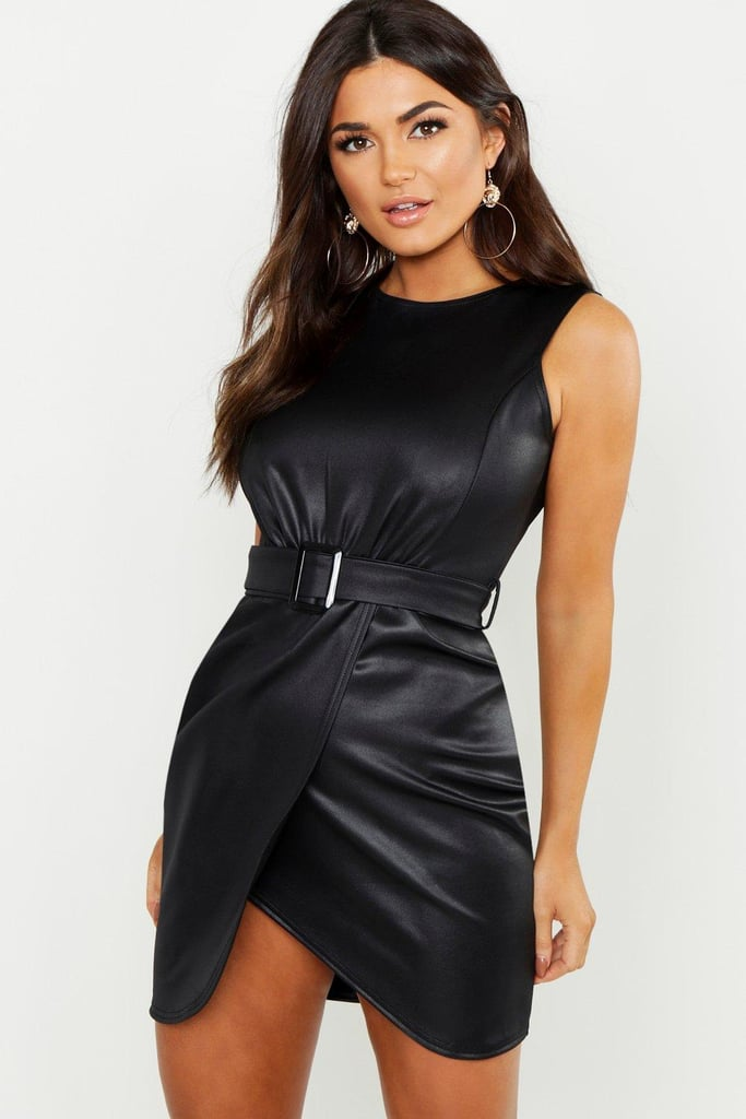 Boohoo PU Belted Wrap Bodycon Dress