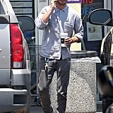 Shia LaBeouf wore Ray-Bans and gray jeans.