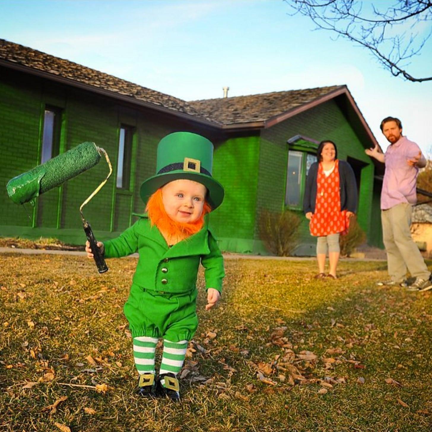 dad dresses baby as leprechaun video popsugar moms