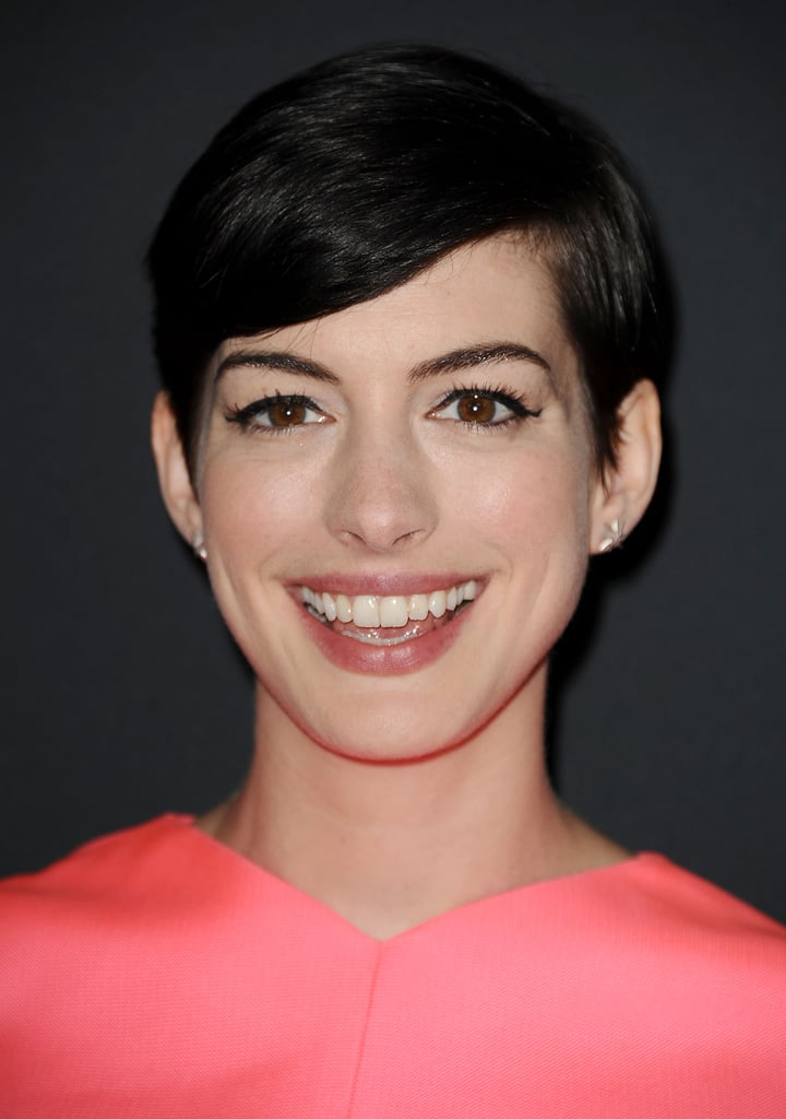 In the past year, Anne Hathaway cut off her hair and even colored it blond, but her  current dark chocolate hue is the shade we love the most.