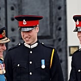 Philip shared a laugh with William and Harry at the Sovereign's Parade in April 2006.
