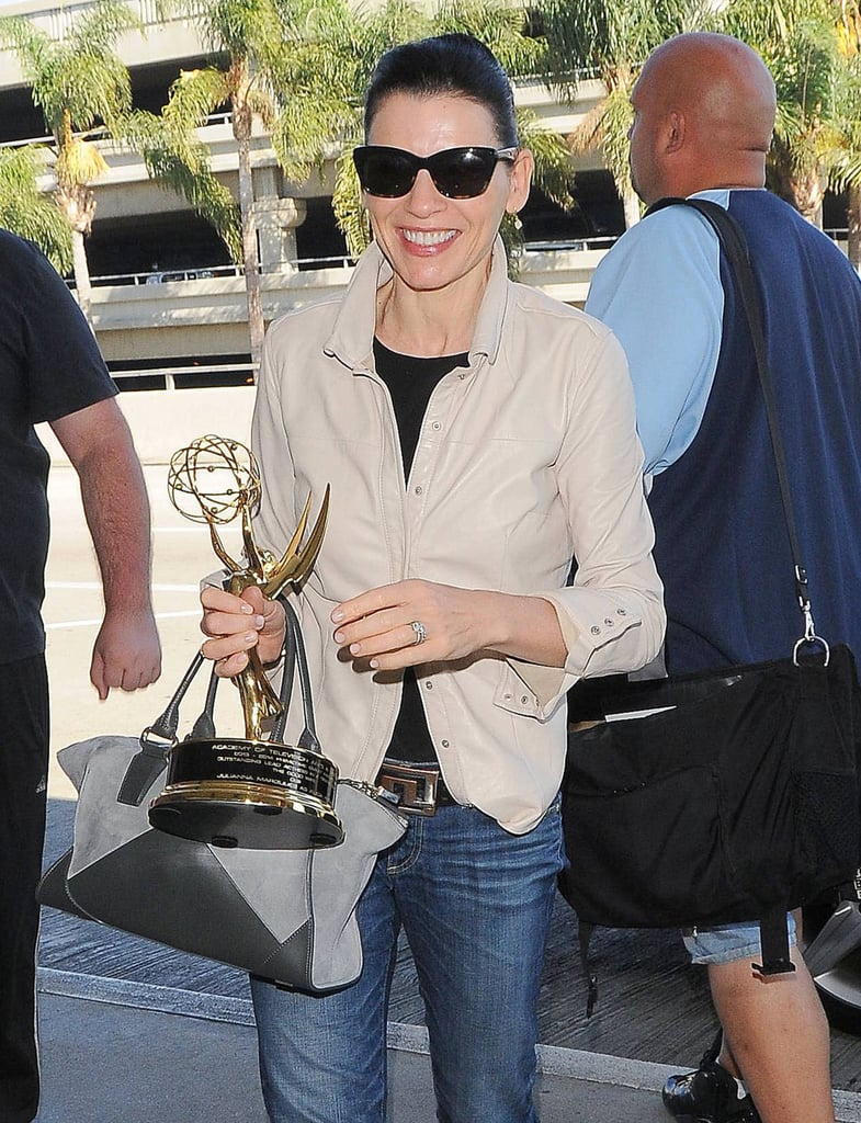 On Tuesday, Julianna Margulies arrived at LAX with her Emmy in tow!