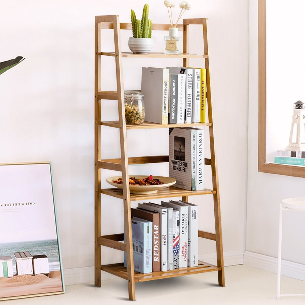 Snailhome 4 Tiers Bamboo Bookshelf