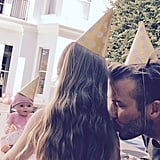 David and Harper shared the cutest father-daughter moment in matching party hats for his daughter's fourth birthday.