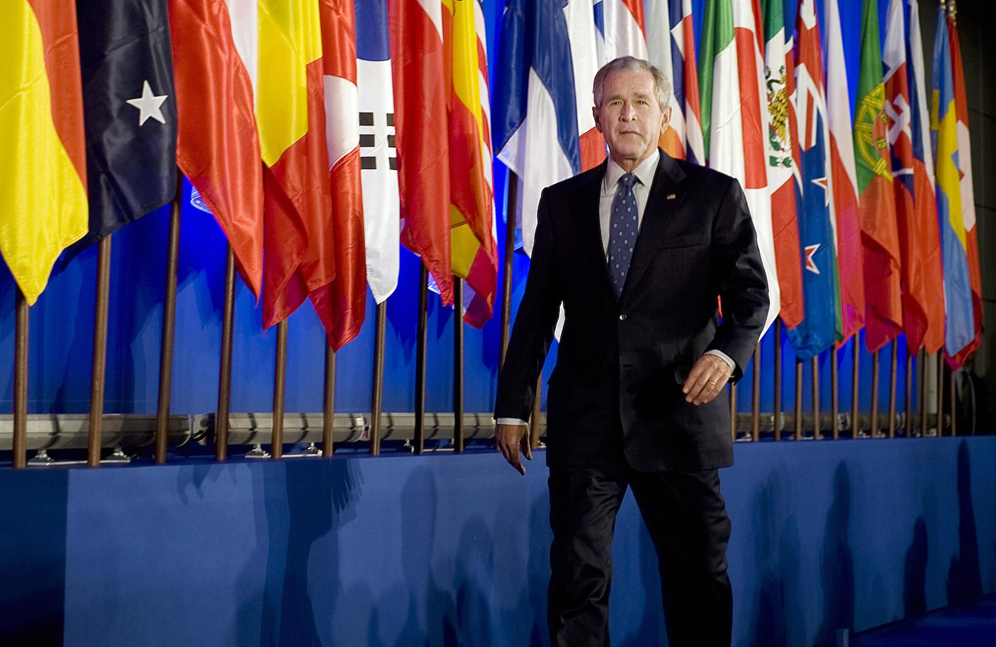 Bush delivers speech at Organization for Economic Co-Operation and Development (OECD) in Paris.