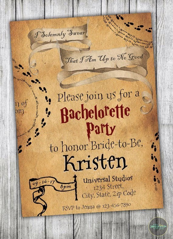 Marauder's Map Bachelorette Party Invitations