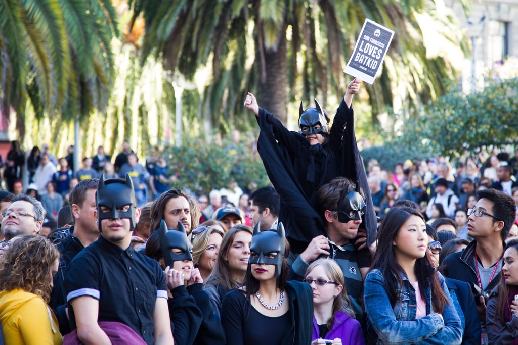 At Union Square, people in the crowd wore Batman masks.