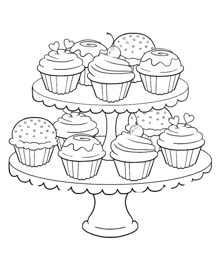Get the coloring page: Cupcakes | Free Coloring Pages For Adults ...