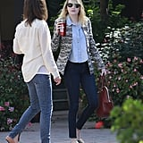 Emma Stone carried a burgundy bag while out in LA.