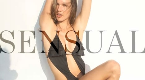 Alessandra Ambrosio, Candice Swanepoel and the Victoria's Secret Girls try on the little black swim suit!