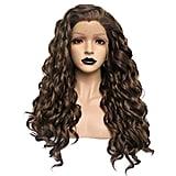 Anogol Dark Brown Side Part Curly Wig