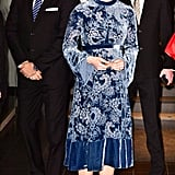 In Jan. 2018, Kate wore this blue velvet dress by Erdem, which later had fans commenting on the style on Twitter.