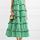 Innika Choo Tiered Embroidered Gingham Cotton Midi Dress ($514.35)