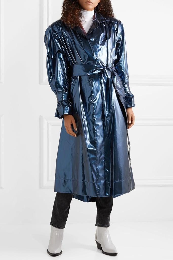 Marc Jacobs Belted Metallic Vinyl Coat