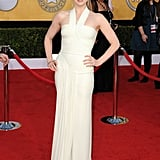 Amy Adams proved that you don't need a tan to pull off a white dress. She wore Herve L. Leroux.