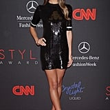 Lily Aldridge's black sequined Louis Vuitton minidress found the perfect companion in her white mod pumps at the 2013 Style Awards in NYC.