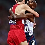 Great Britain's Mohamed Farah celebrated winning gold by hugging US runner Galen Rupp.