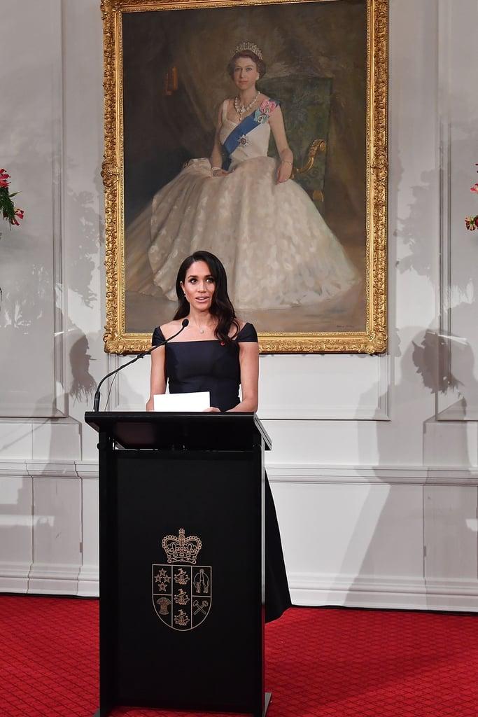 Meghan Markle Navy Gabriela Hearst Dress in New Zealand