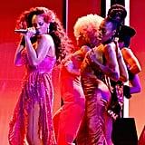 Rihanna Wearing Pink Dress at Grammys 2018