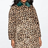 Eloquii Leopard Coat with Fur Collar