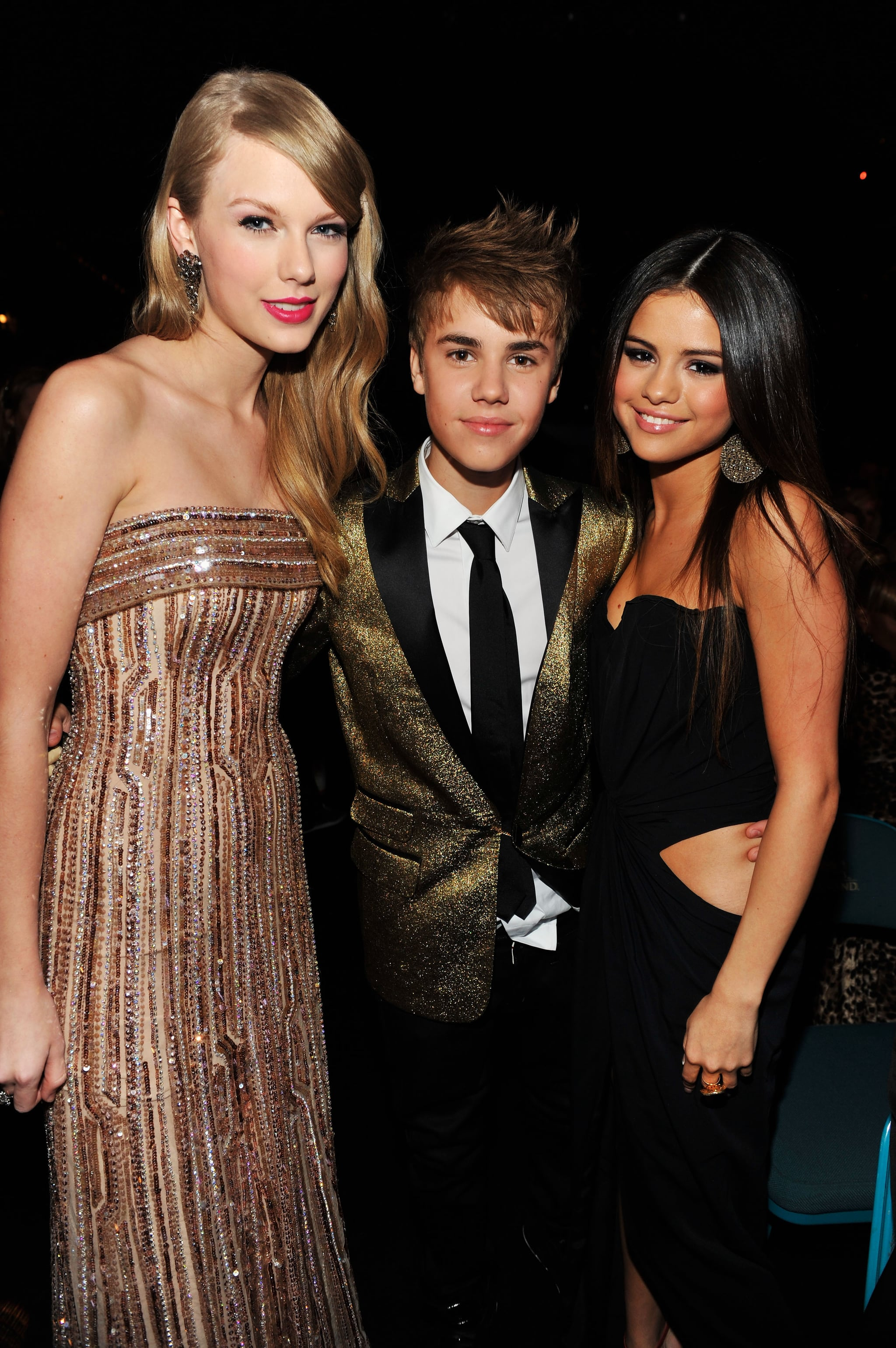 Taylor Swift, Justin Bieber, and Selena Gomez made a picture-perfect group in December 2011.