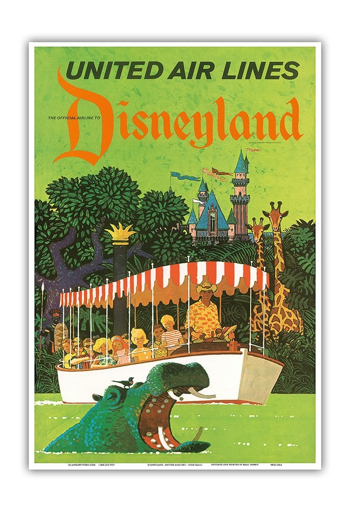 Vintage Airline Travel Poster — Adventureland Jungle Cruise