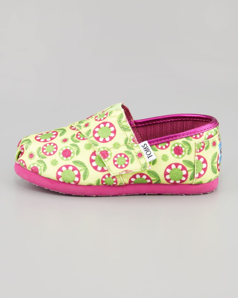 TOMS Yellow Glitter Flower Slip-On