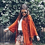 A Solid Top, a Printed Skirt, and a Light Jacket