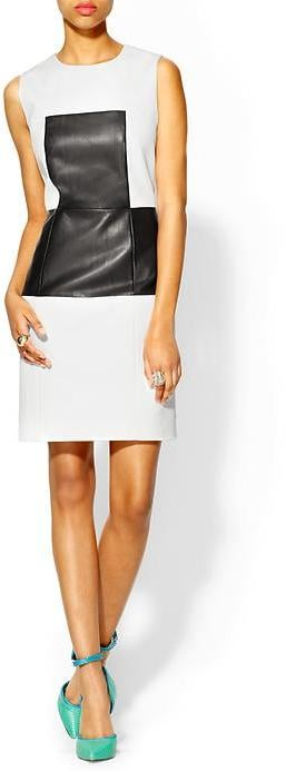 Tibi's Amelie leather panel dress ($595) might just be the easiest way to wear Spring's black and white trend — but that's not all we love about it. The leather paneling is also like a figure-flattering secret weapon that slims your middle.