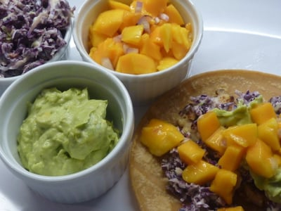 Recipe: Fish Tacos with Lime Crema and Mango Salsa