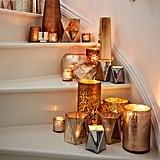 Crosshatch Textured Mercury Candleholders