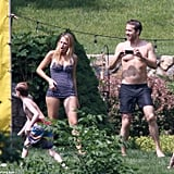 A shirtless Ryan Reynolds snapped photos of Blake Lively and her younger family members in New York.