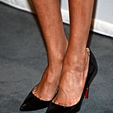 She also wore a simple pair of black Christian Louboutin heels.