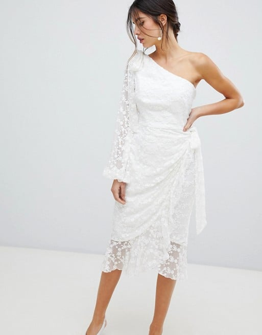 Asos Keepsake Retrospect One-Sleeve Lace Midi Dress