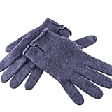 Blackberry Cashmere Gloves With Button Detail