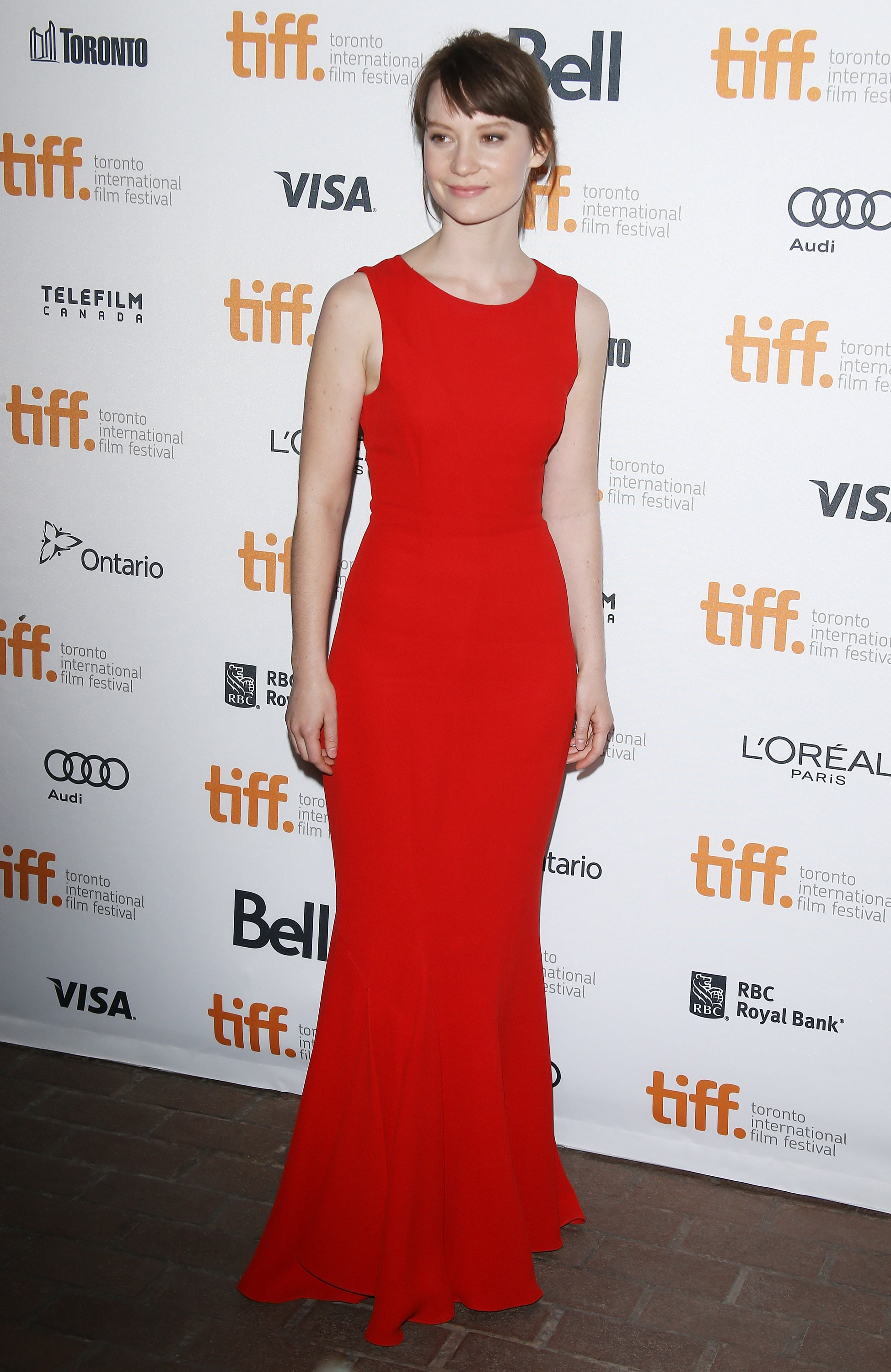Mia Wasikowska wore a red Dior frock for the premiere of Only Lovers Left Alive.