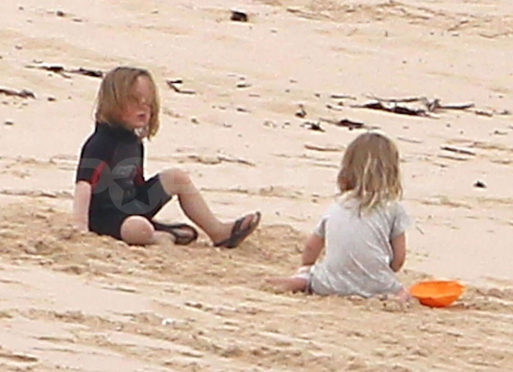 Knox and Vivienne Jolie-Pitt played together in the sand on their family vacation.