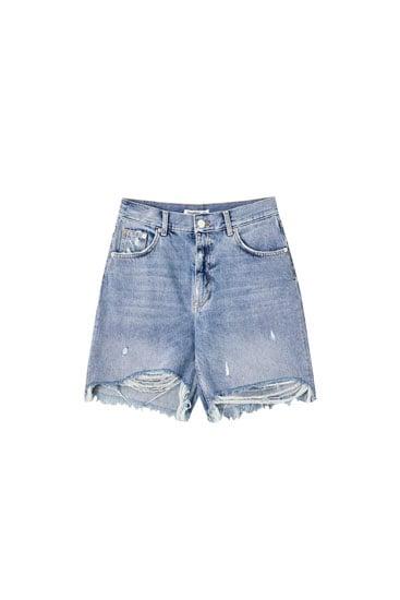 pull&bear High-Rise Blue Denim Bermuda Shorts