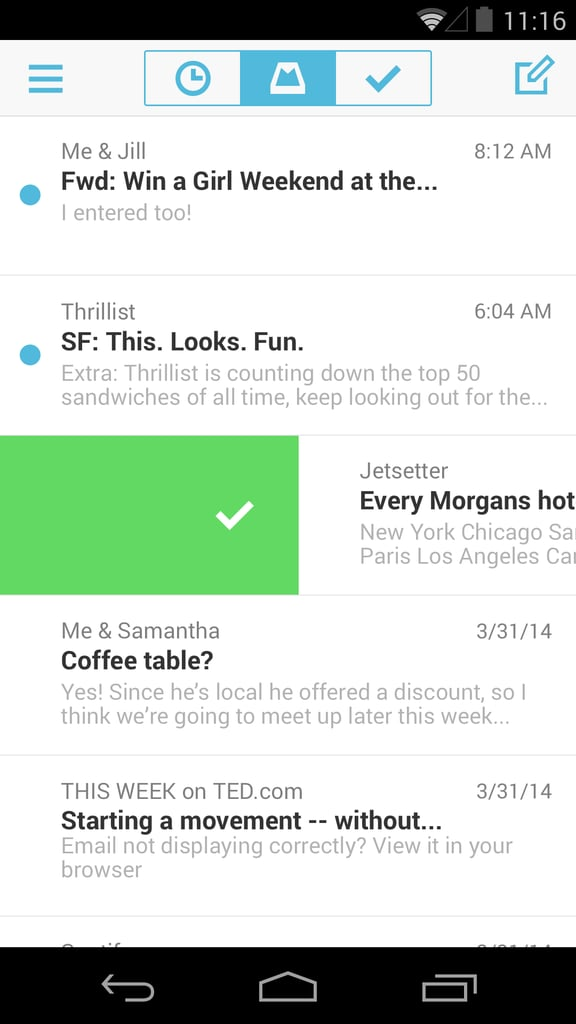 Mailbox for Android — Swipe to Archive