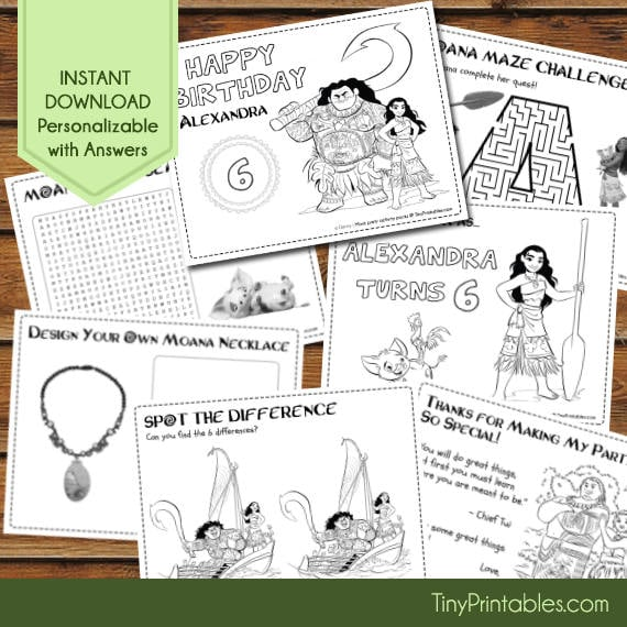 - Personalized Coloring Sheets Moana Party Decor That'll Show Your Kid How  Far You'll Go For Their Birthday POPSUGAR Family Photo 17
